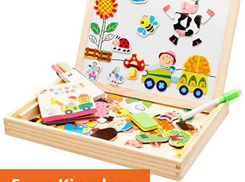 CrazySell Dibujo Magnética Placa de Madera del Rompecabezas con la Caja para Niños de 3 Años + (Granja felíz)
