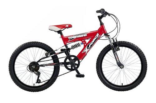 Townsend Xforce niño – Bicicleta de doble suspensión para niño, tamaño 20″, color rojo / negro
