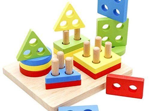 Juguete Del Bebé, Oyedens juguetes educativos de la infancia de los niños primeros poste de madera forma de la geometría de inteligencia