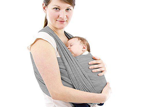 Schukaps Baby – Fular Portabebes de alta calidad – Para Mujer y Hombre – Talla única – Gris – Pañuelo Porta BEBE – Baby Carrier Sling Wrap – 95% Algodón – 5% Elastano – Portador de Bebe – Lleve a su bebe cómodamente