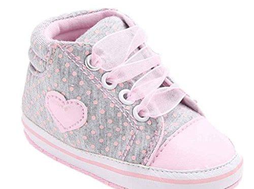 Zapatos de bebé,Tongshi Forma de corazón de zapato de lona niña zapatos zapatillas antideslizante suave único niño del bebé (0~6M, Gris)