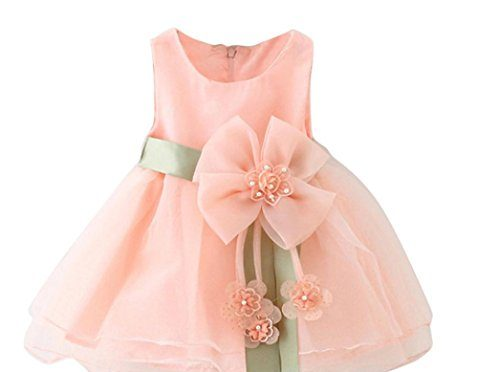 SMARTLADY Bebé Niñas Princesa Vestido Sin Mangas De Encaje Del Hilado (12 meses, Rosa)