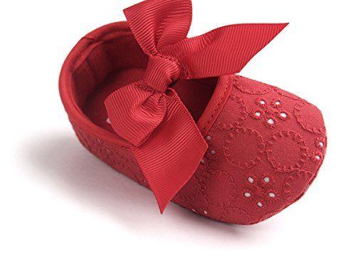 Auxma Bebé Niña Zapatos suela blanda Bowknot Zapatos flor zapatillas prewalker (11cm(0-6 meses), Rojo)