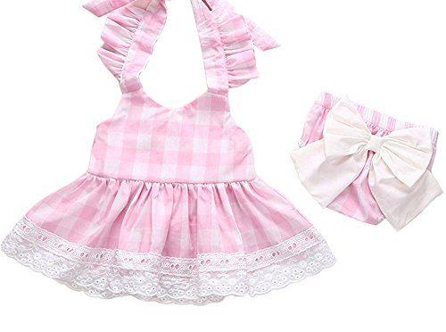 Covermason Bebé Niñas Princesa Bowknot Cordón Vestir y Pantalones cortos(1 Conjuntos) (12-18M, Rosado)