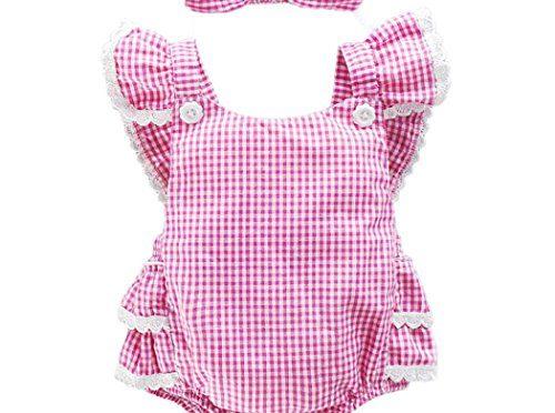 Vestidos Bebé,Switchali Niñito Infantil Recién nacido Bebé Niña Cabestro bowknot jumpsuit algodón Mono + venda Traje de baño Ropa Niñas moda linda Romper 0~18 meses barato (80, Rosado)