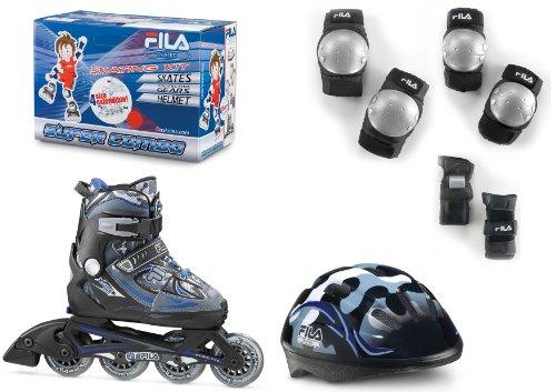 Fila X-one 010613150 Combo – Juego de patines en línea, casco y protectores para niño (talla M), color negro y azul