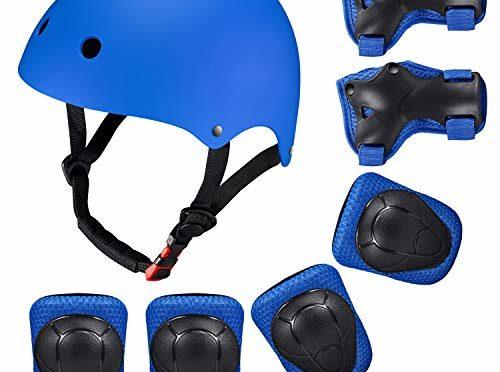 b5253a1d37c Casco Rodilleras y Coderas Para Niños Protecciones Skate Patines SKL Casco  Tamaño Ajustable Deportivos BMX Bicicleta, Monopatín (Azul)